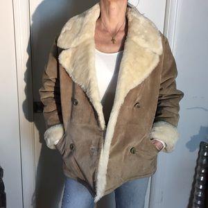 VGT 90s Suede 100% Leather Faux Fur Jacket/Coat
